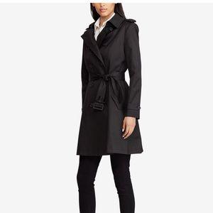RALPH LAUREN-Black Button Trench Jacket/Coat-Large